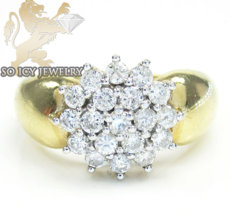 Ladies 14k Yellow Gold Diamond Cluster Ring 0.90ct