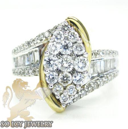 Ladies 14k White Gold Round & Marquise Diamond Engagement Ring 1.25ct