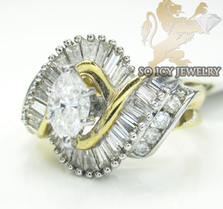 Ladies 14k Yellow Gold Diamond Marquise Engagement Ring 1.50ct