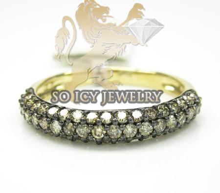 Ladies 14k Yellow Gold Champagne Diamond Wedding Band 1.00ct