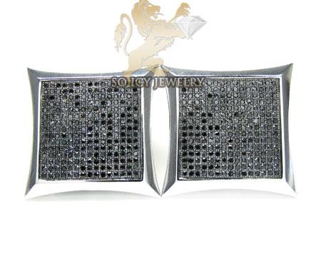 Black diamond earrings 10k white gold mens 2.00ct