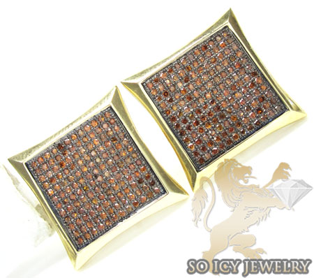 RED DIAMOND EARRINGS 10K YELLOW GOLD MENS 1 50CT