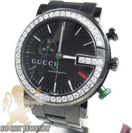 cc261501ca0 Diamond Gucci Chrono G Watch Black Stainless Steel 2.00 Ct