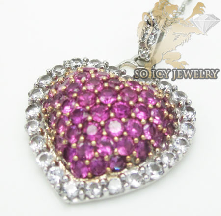 Pink Sapphire Heart Pendant 10k White Gold 1.00ct
