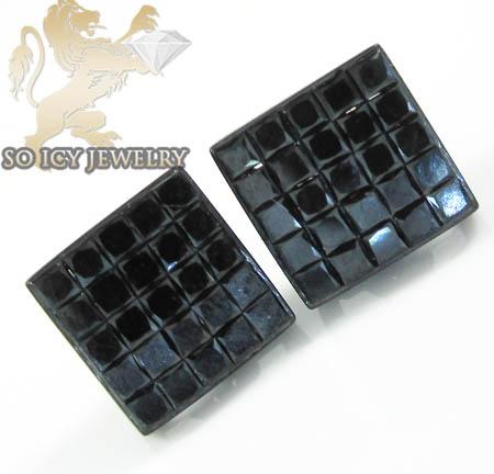 10k black gold diamond princess earrings 2.00ct