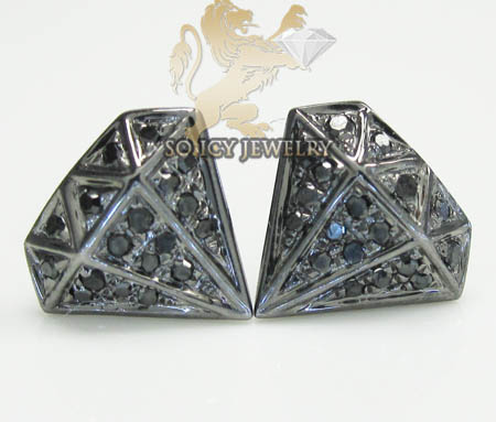 10k black gold diamond pave diamond earrings 0.15ct