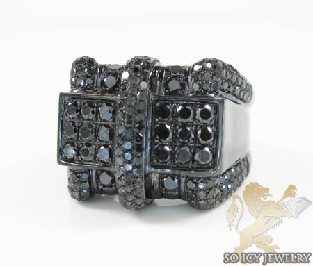 Mens 10k Black Gold Black Diamond Ring 2.86ct