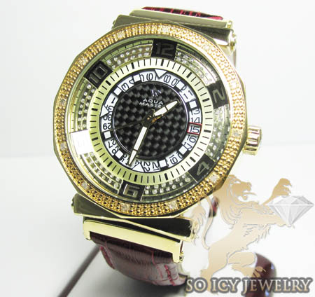 Womens Aqua Master Genuine Diamond Yellow Carbon Watch 0.20ct