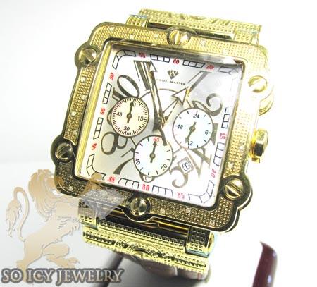 Mens aqua master genuine diamond yellow box watch 0.20ct