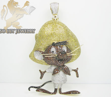 10k yellow gold diamond speedy gonzales pendant 11.25ct