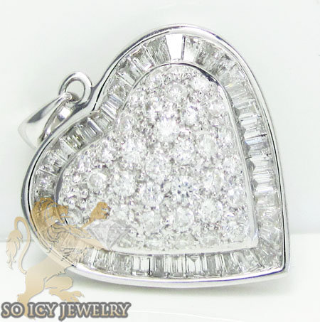 Ladies 18k white gold baguette diamond heart pendant 0.70ct