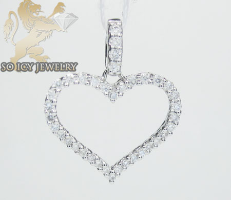 Ladies 18k white gold diamond heart pendant 0.37ct