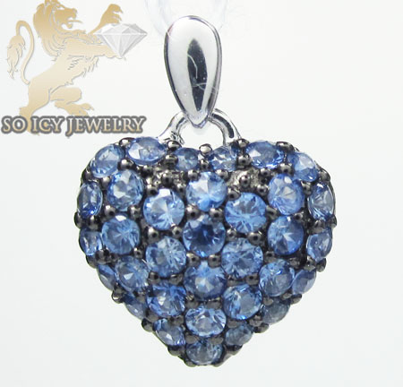 Ladies 18k White Gold Blue Sapphire Mini Heart Pendant 0.55ct