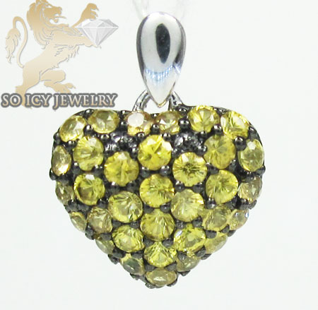 Ladies 18k white gold yellow sapphire mini heart pendant 0.43ct