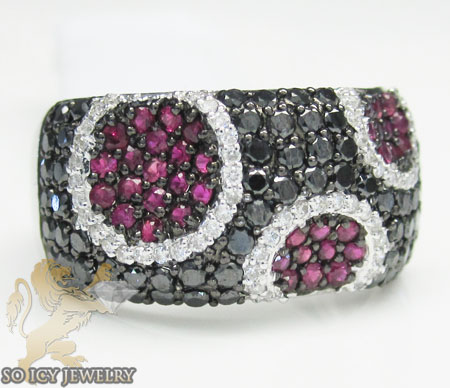 Ladies purple & black diamond ring 18k white gold 1.49ct