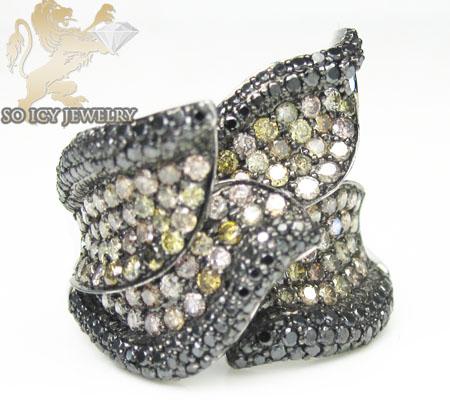Ladies 18k white gold black diamond flower ring 2.08ct