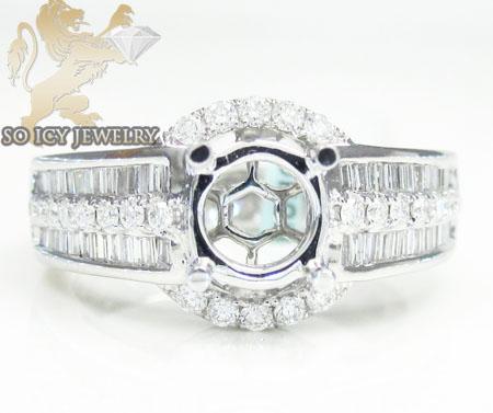 Ladies 18k White Gold Baguette Diamond Semi Mount Ring 0.70ct