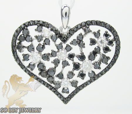 Ladies 14k white gold black & white diamond heart pendant 1.33ct