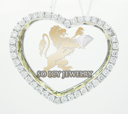 14k yellow gold round diamond heart pendant 0.67ct
