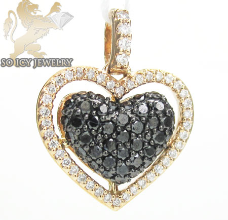 18k rose gold black diamond heart pendant 0.62ct