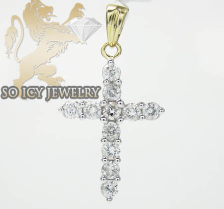 Ladies 14k Yellow Gold Diamond Cross 1.00ct