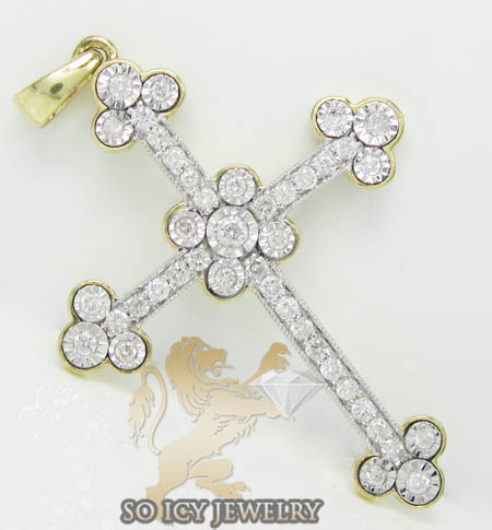 Ladies 14k Yellow Gold Diamond Cut Bezel Cross 1.25ct