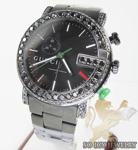 Black Diamond Gucci G Watch Black Stainless Steel 4.75 Ct
