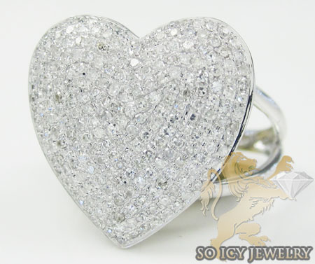 Ladies 10k White Gold Diamond Heart Ring 0.90ct