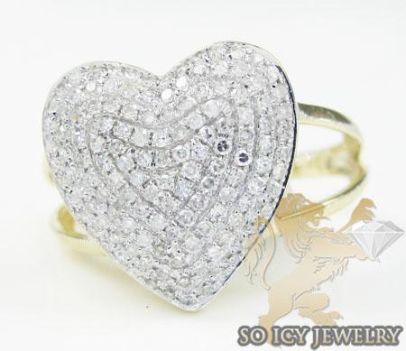 Ladies 14k yellow gold diamond heart ring 0.50ct