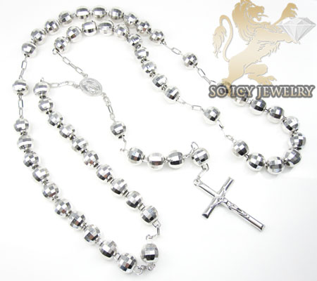 .925 silver diamond cut rosary italy necklace 40 inches 9mm