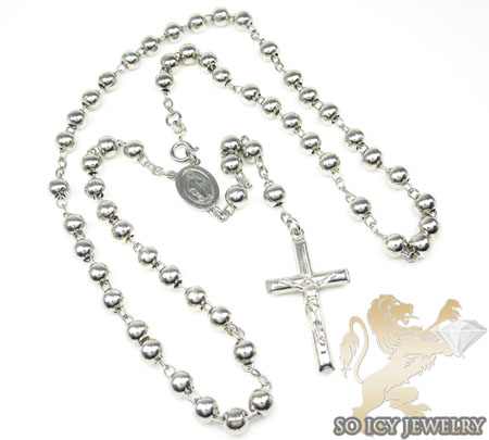 925 silver rosary italy necklace 23 inches 5mm
