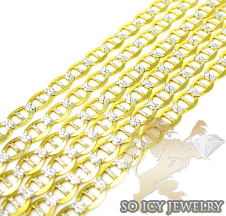 10k Two Tone Gold Diamond Cut Anchor Mariner Chain 36 Inch 4mm