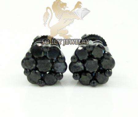 10K BLACK GOLD BLACK DIAMOND PAVE EARRINGS 0.70CT