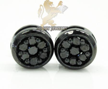 10k black gold black diamond pave earrings 0.60ct