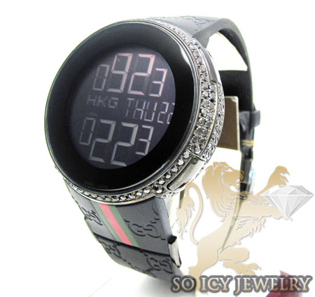 Mens black diamond full case igucci digital watch 5.00ct