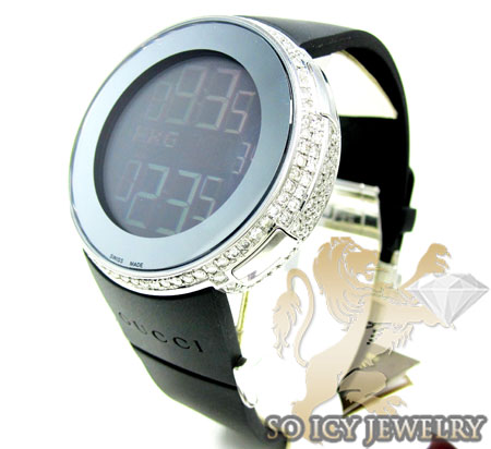 MENS DIAMOND FULL CASE iGUCCI DIGITAL WATCH 5.00CT