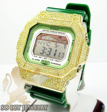 Mens Cz G-lide Green G-shock Watch 4.00ct