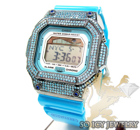 Mens Cz G-lide Aqua Blue G-shock Watch 4.00ct