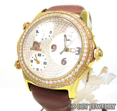 TECHNO MASTER DIAMOND ROSE STAINLESS STEEL 3 TIME ZONE WATCH 2.50CT