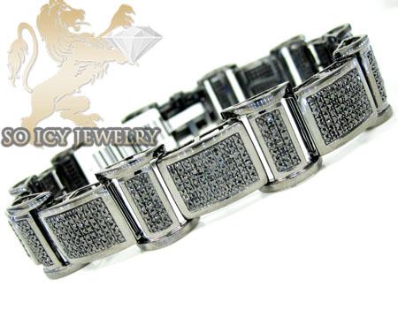 3.75ct 10k Solid Black Gold Black Diamond Mens Bracelet