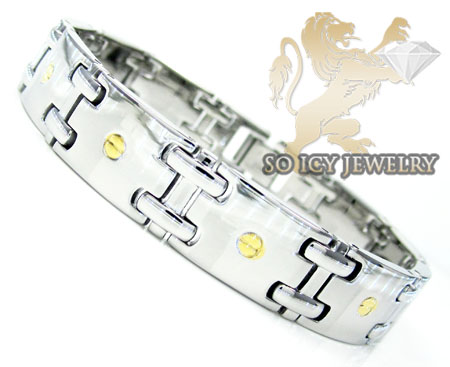 White Stainless Steel Yellow Screw Link Bracelet