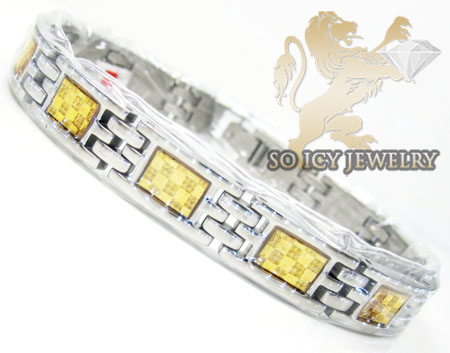 Two tone stainless steel yellow checkered link bracelet