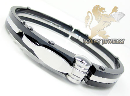Two Tone Stainless Steel Handcuff Bracelet
