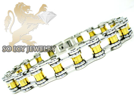 Two tone stainless steel bicycle chain bracelet