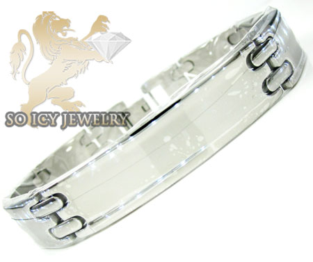 White stainless steel box link bracelet