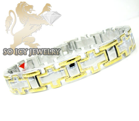 Two tone stainless steel cross link bracelet