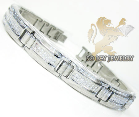 White stainless steel box link cz bracelet