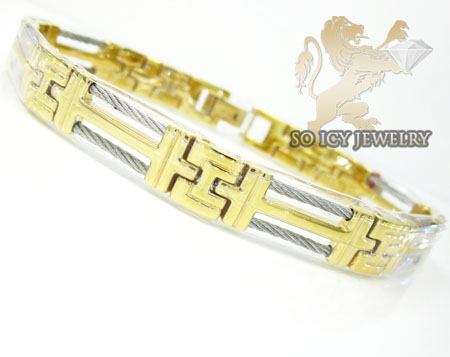 Two tone stainless steel cable link bracelet