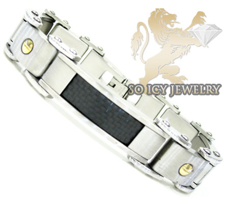 Two tone stainless steel black carbon fiber screw link bracelet