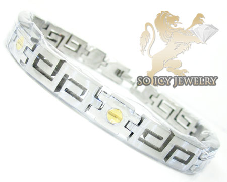 White stainless steel yellow screw link versace style bracelet
